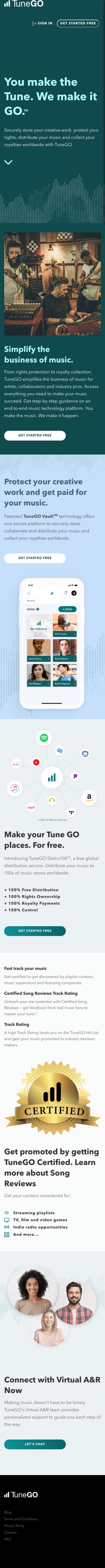 Example of Design for Arts & Entertainment, Music & Audio, Mobile Landing Page by tunego.com | Mobile Landing Page Design
