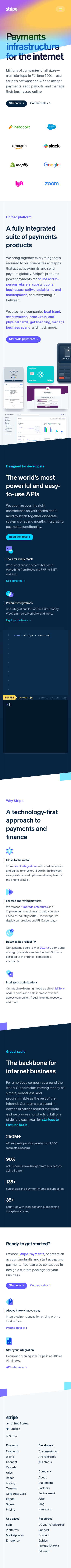 Example of Design for Business & Industrial, Business Services, E-Commerce Services, Mobile Landing Page by stripe.com-V2 | Mobile Landing Page Design