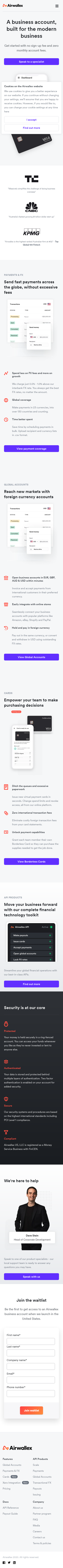 Example of Design for Finance, Mobile Landing Page by airwallex.com-V2 | Mobile Landing Page Design