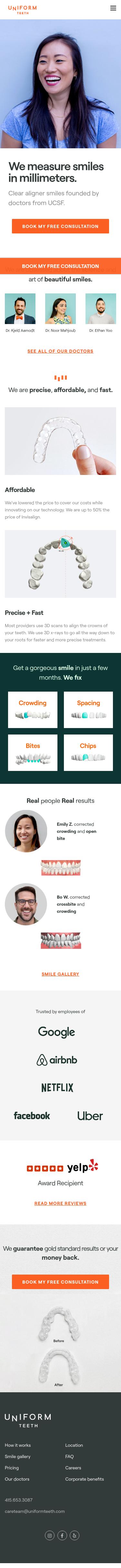 Example of Design for Health, Oral & Dental Care, Mobile Landing Page by uniformteeth.com | Mobile Landing Page Design