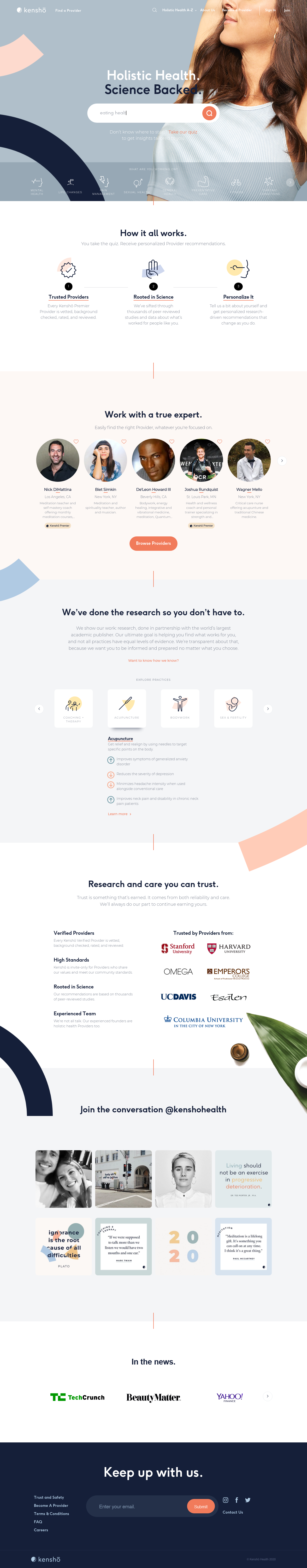 Example of Design for Health, Landing Page by kenshohealth.com | Landing Page Design
