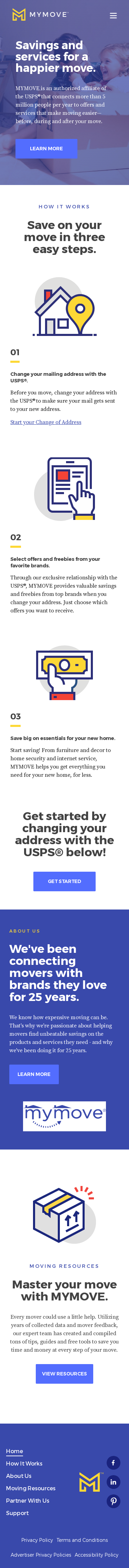 Example of Design for Business & Industrial, Transportation & Logistics, Moving & Relocation, Mobile Landing Page by mymove.com | Mobile Landing Page Design