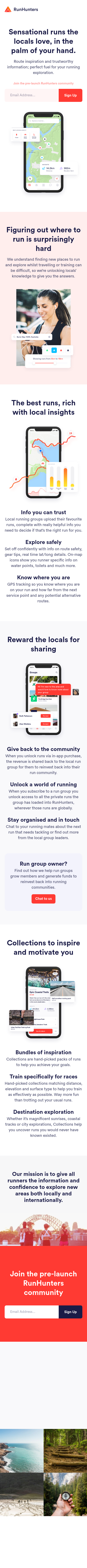Example of Design for Hobbies & Leisure, Mobile Landing Page by runhunters.app   Mobile Landing Page Design