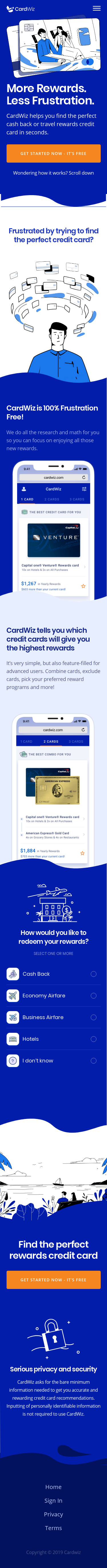 Example of Design for Finance, Credit & Lending, Credit Cards, Mobile Landing Page by cardwiz.com | Mobile Landing Page Design