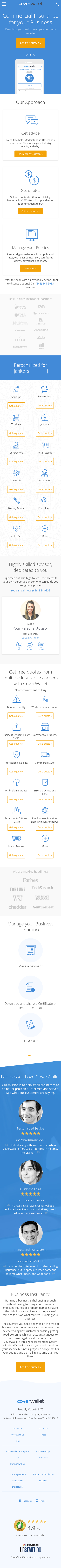 Example of Design for Finance, Insurance, Mobile Landing Page by coverwallet.com | Mobile Landing Page Design