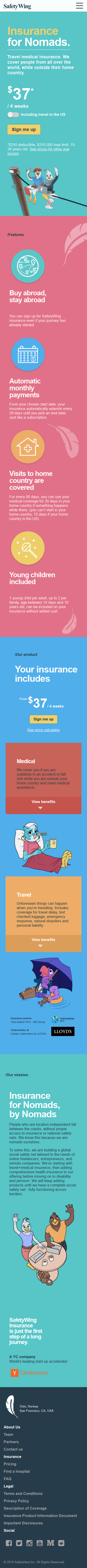 Example of Design for Finance, Insurance, Health Insurance, Mobile Landing Page by safetywing.com | Mobile Landing Page Design