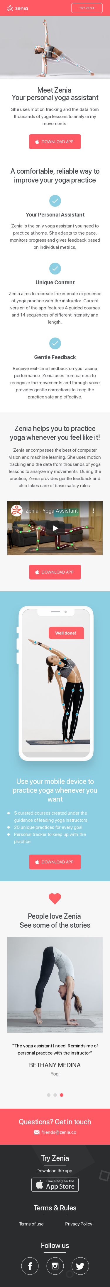 Example of Design for Beauty & Fitness, Fitness, Mobile Landing Page by zenia.app | Mobile Landing Page Design