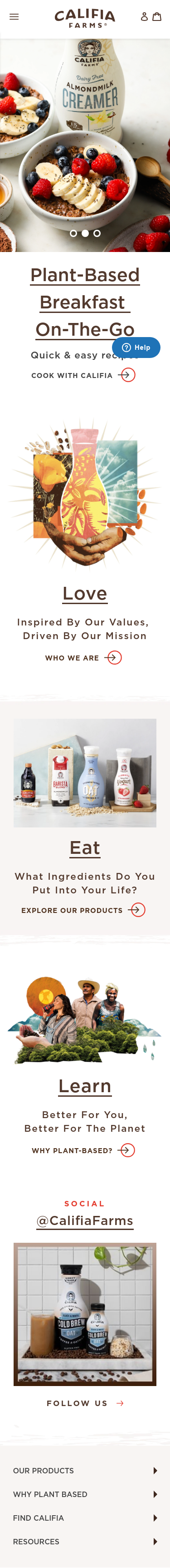 Example of Design for Food & Drink, Food, Mobile Landing Page by califiafarms.com | Mobile Landing Page Design