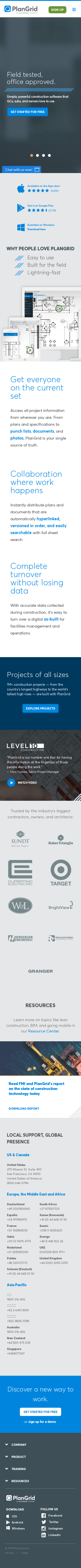 Example of Design for Science, Engineering & Technology, Mobile Landing Page by plangrid.com-V2 | Mobile Landing Page Design