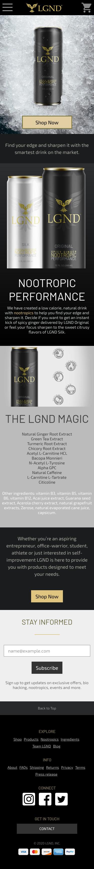 Example of Design for Food & Drink, Beverages, Mobile Landing Page by drink-lgnd.com | Mobile Landing Page Design