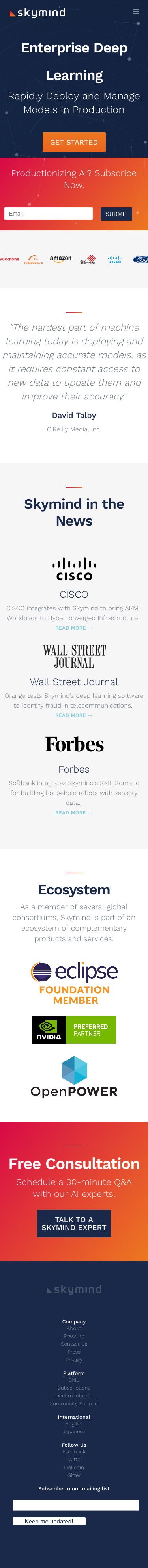 Example of Design for Science, Mobile Landing Page by skymind.ai | Mobile Landing Page Design