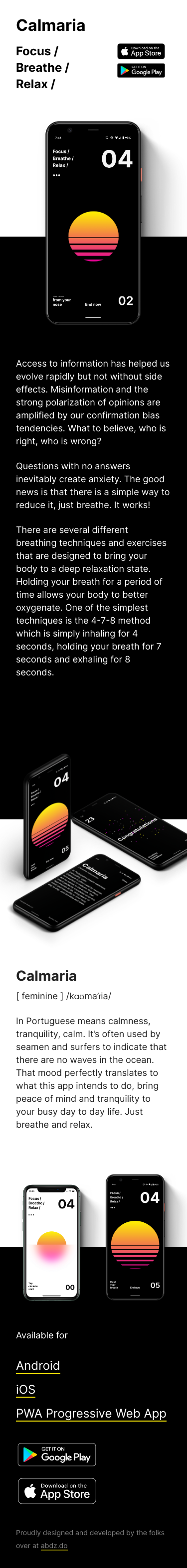 Example of Design for Internet & Telecom, Mobile & Wireless, Mobile Apps & Add-Ons, Mobile Landing Page by calmaria.app | Mobile Landing Page Design