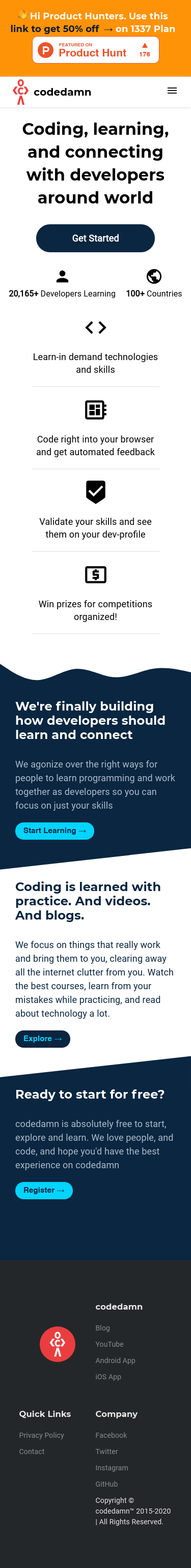 Example of Design for Jobs & Education, Education, Mobile Landing Page by codedamn.com | Mobile Landing Page Design