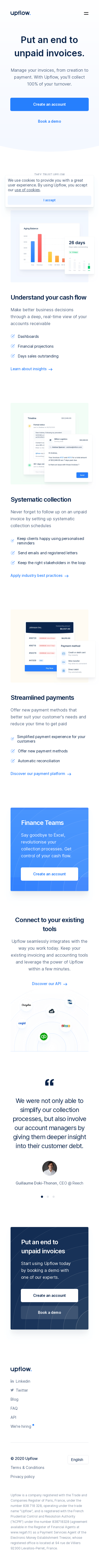 Example of Design for Finance, Accounting & Auditing, Mobile Landing Page by upflow.io   Mobile Landing Page Design