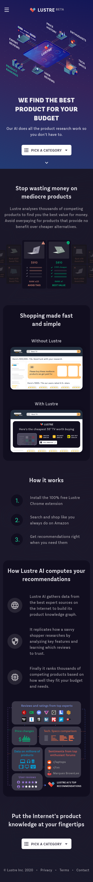 Example of Design for Shopping, Consumer Resources, Product Reviews & Price Comparisons, Mobile Landing Page by lustre.ai | Mobile Landing Page Design