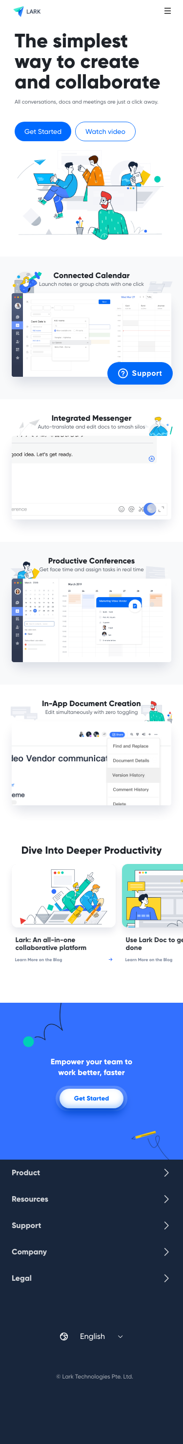 Example of Design for Computers & Electronics, Mobile Landing Page by larksuite.com | Mobile Landing Page Design