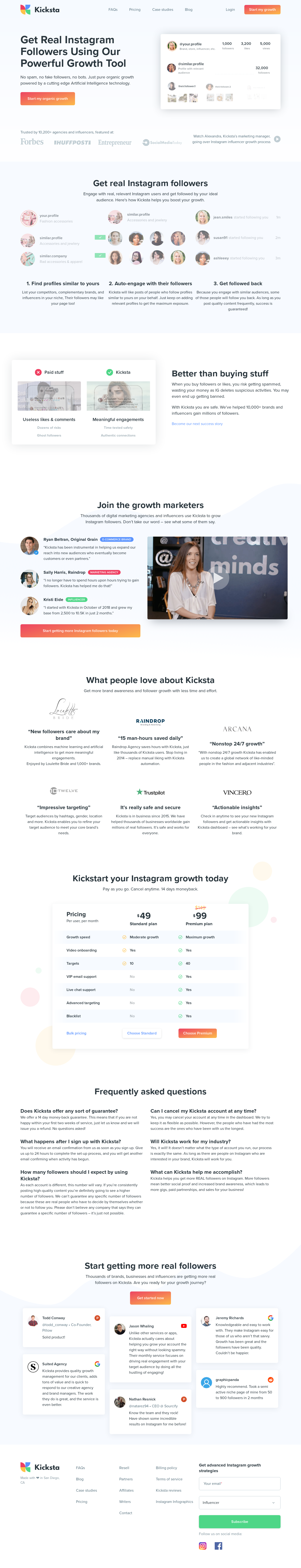 Example of Design for Online Communities, Mobile Landing Page by kicksta.co | Mobile Landing Page Design