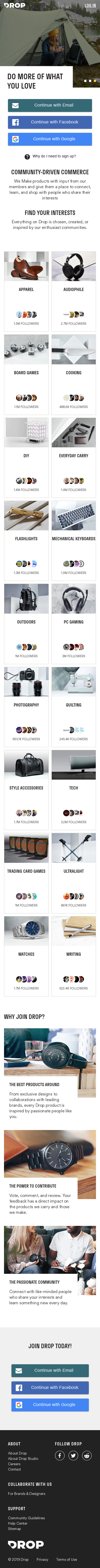 Example of Design for Online Communities, Mobile Landing Page by drop.com | Mobile Landing Page Design