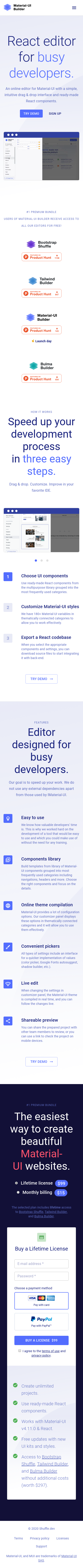 Example of Design for Computers & Electronics, Software, Mobile Landing Page by mui.dev | Mobile Landing Page Design