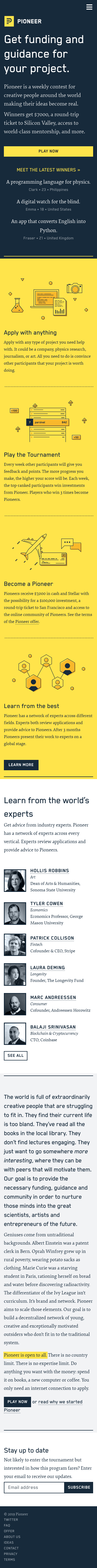 Example of Design for Business & Industrial, Business Finance, Venture Capital, Mobile Landing Page by pioneer.app   Mobile Landing Page Design