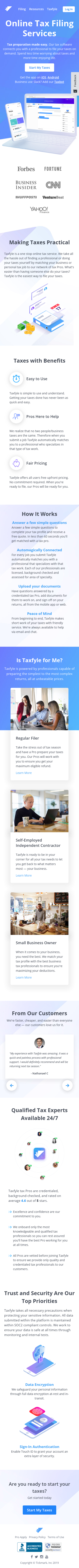 Example of Design for Finance, Accounting & Auditing, Tax Preparation & Planning, Mobile Landing Page by taxfyle.com-V2 | Mobile Landing Page Design