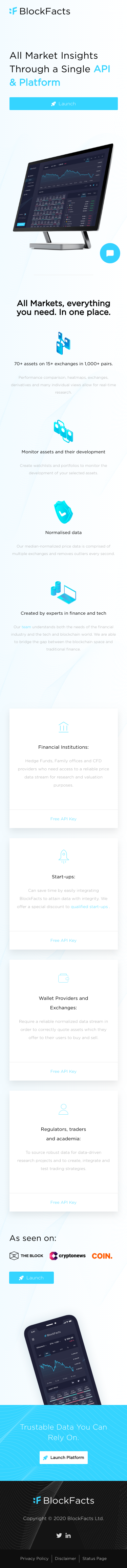 Example of Design for Finance, Investing, Mobile Landing Page by blockfacts.io | Mobile Landing Page Design