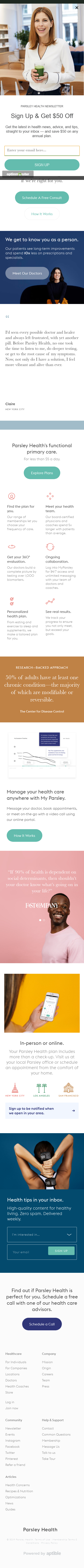 Example of Design for Health, Nutrition, Mobile Landing Page by parsleyhealth.com | Mobile Landing Page Design