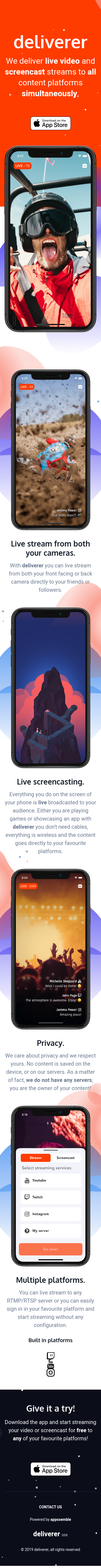 Example of Design for Arts & Entertainment, TV & Video, Online Video, Mobile Landing Page by deliverer.live | Mobile Landing Page Design