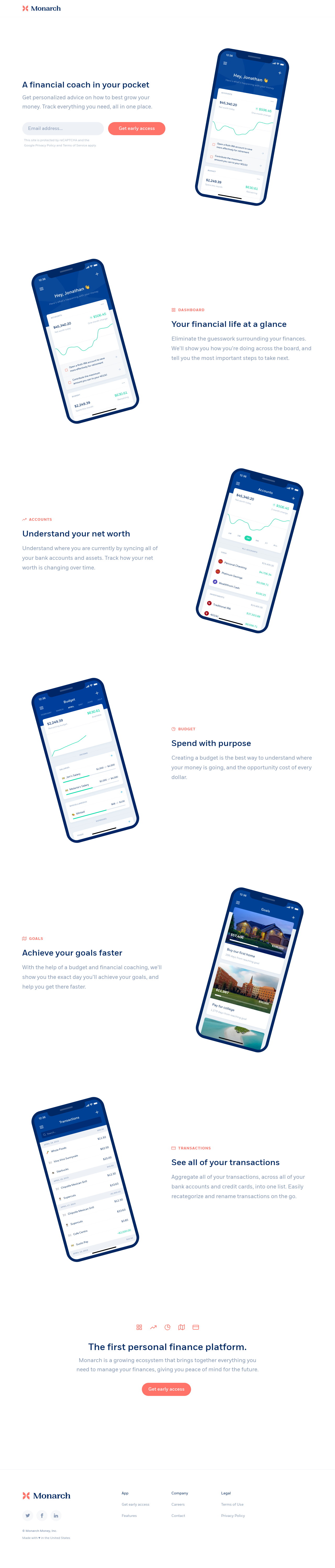 Example of Design for Finance, Financial Planning & Management, Landing Page by monarchmoney.com | Landing Page Design