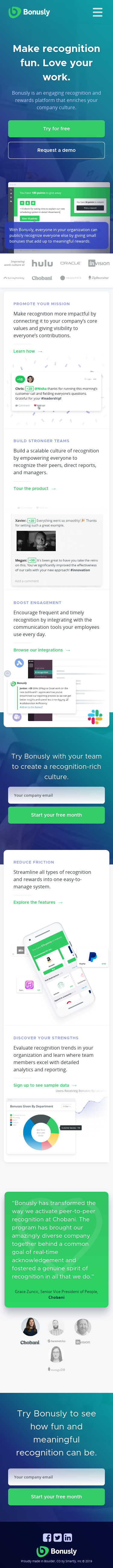 Example of Design for Business & Industrial, Mobile Landing Page by bonus.ly | Mobile Landing Page Design