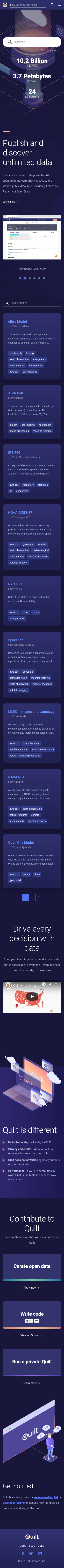 Example of Design for Science, Mobile Landing Page by open.quiltdata.com | Mobile Landing Page Design