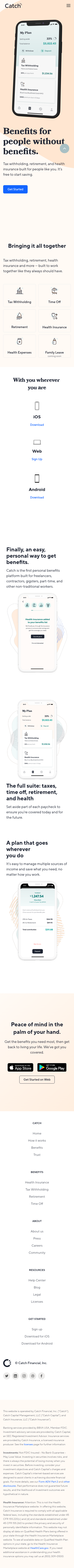 Example of Design for Finance, Insurance, Health Insurance, Mobile Landing Page by catch.co | Mobile Landing Page Design