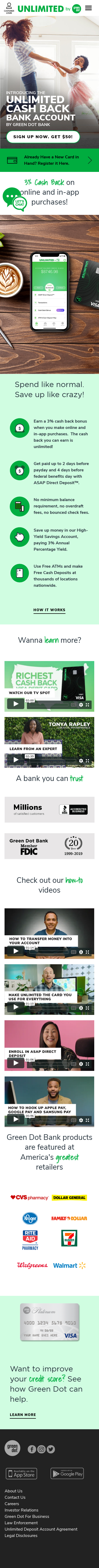Example of Design for Finance, Banking, Mobile Landing Page by greendot.com | Mobile Landing Page Design
