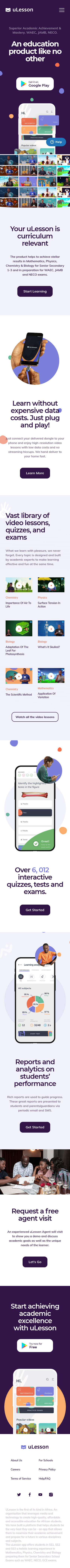 Example of Design for Jobs & Education, Education, Standardized & Admissions Tests, Mobile Landing Page by ulesson.com | Mobile Landing Page Design