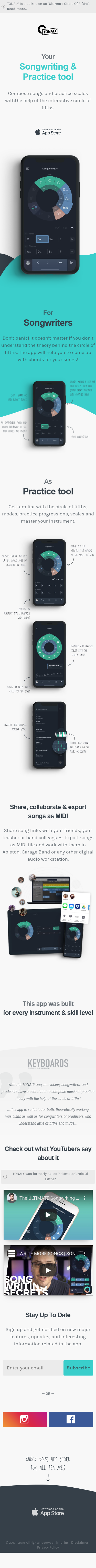 Example of Design for Arts & Entertainment, Music & Audio, Music Reference, Mobile Landing Page by tonaly.app | Mobile Landing Page Design