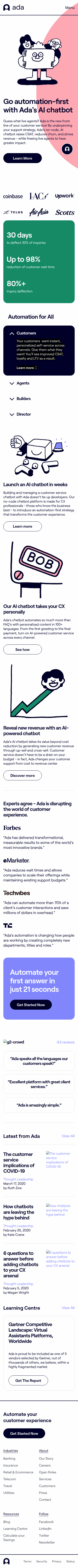 Example of Design for Business & Industrial, Mobile Landing Page by ada.support | Mobile Landing Page Design