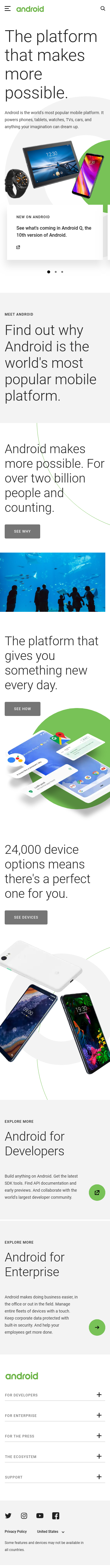 Example of Design for Internet & Telecom, Mobile & Wireless, Mobile Apps & Add-Ons, Mobile Landing Page by android.com | Mobile Landing Page Design