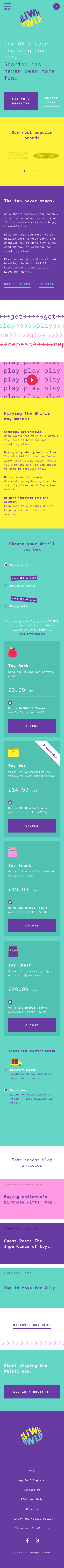 Example of Design for Shopping, Toys, Mobile Landing Page by whirli.com | Mobile Landing Page Design