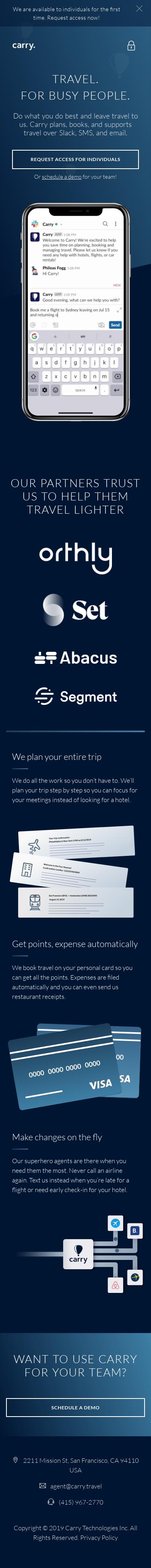 Example of Design for Travel, Mobile Landing Page by carry.travel | Mobile Landing Page Design
