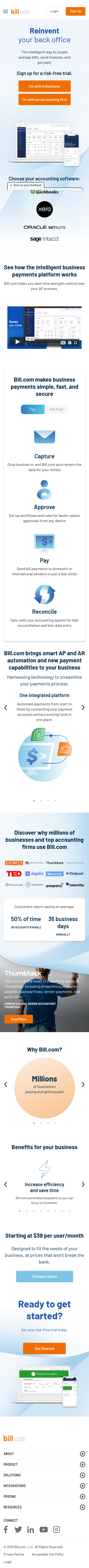 Example of Design for Finance, Accounting & Auditing, Mobile Landing Page by bill.com | Mobile Landing Page Design