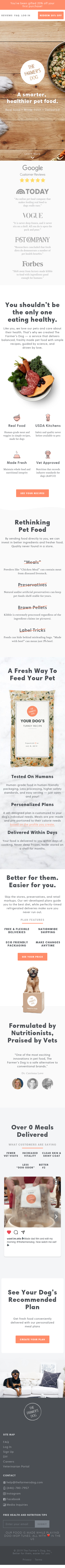 Example of Design for Pets & Animals, Animal Products & Services, Pet Food & Supplies, Mobile Landing Page by thefarmersdog.com | Mobile Landing Page Design
