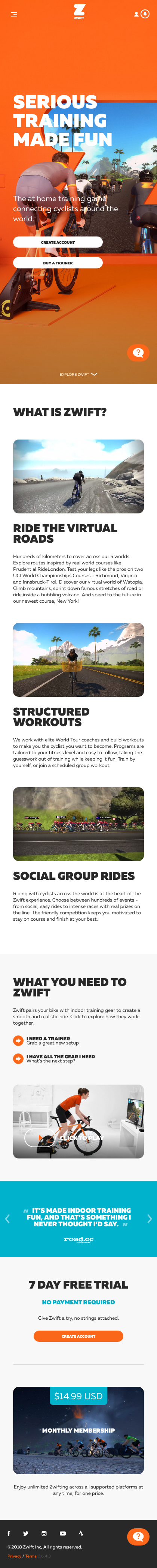 Mobile Landing Page Example: zwift com
