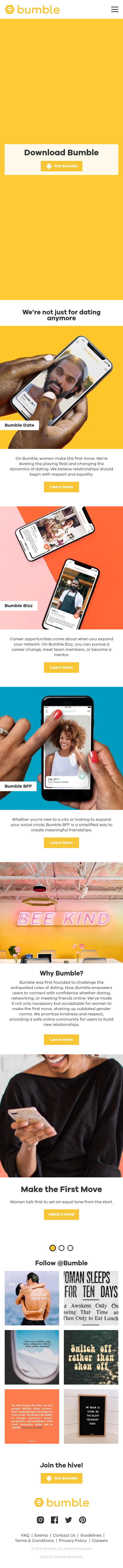 Example of Design for People & Society, Family & Relationships, Mobile Landing Page by bumble.com | Mobile Landing Page Design