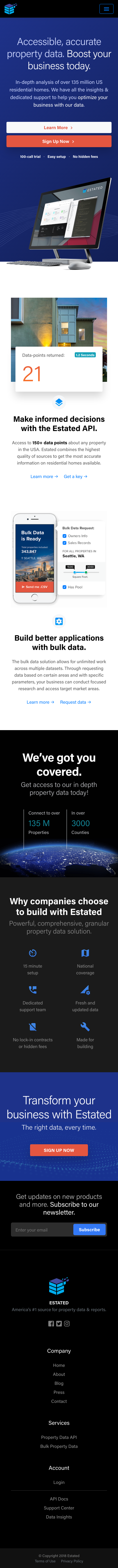 Example of Design for Real Estate, Real Estate Listings, Mobile Landing Page by estated.com | Mobile Landing Page Design
