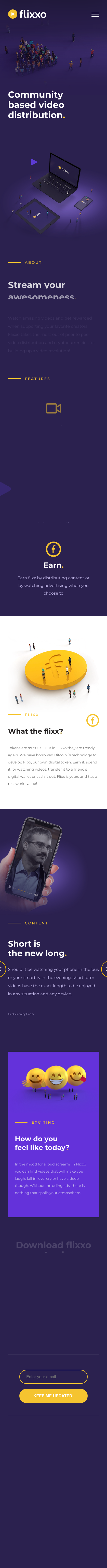 Example of Design for Arts & Entertainment, Online Media, Mobile Landing Page by flixxo.com | Mobile Landing Page Design