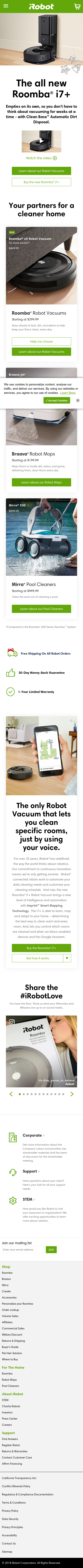 Example of Design for Home & Garden, Home Appliances, Mobile Landing Page by irobot.com | Mobile Landing Page Design
