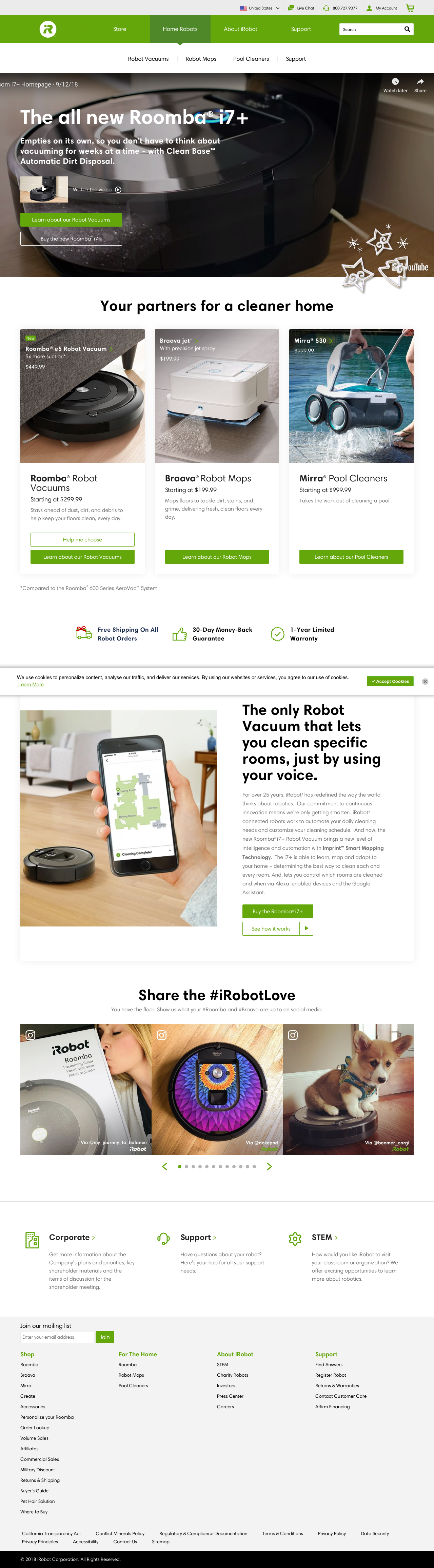 Example of Design for Home & Garden, Home Appliances, Landing Page by irobot.com | Landing Page Design
