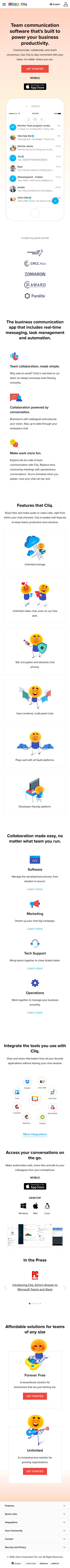 Example of Design for Computers & Electronics, Software, Business & Productivity Software, Mobile Landing Page by zoho.com/cliq/   Mobile Landing Page Design