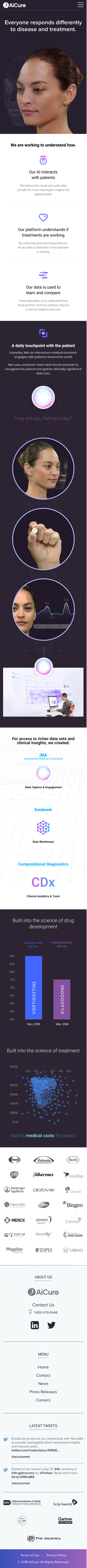 Example of Design for Health, Mobile Landing Page by aicure.com | Mobile Landing Page Design