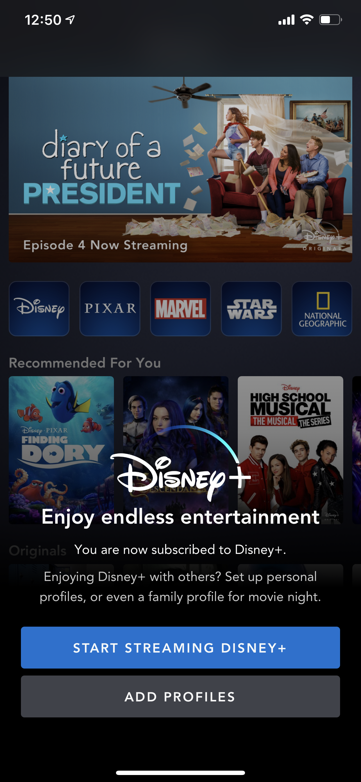 Example of App Design for iOS with the following features: interstitial ~ splash, text button, background image. App by DisneyPlus (iPhone X)